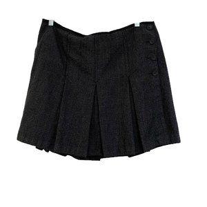 J. Crew  Size 14 Black Wool Pleated Plaid Skirt